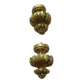 Antique Gold Drapery Finials - a Pair For Sale