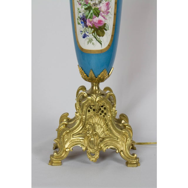 Large Urn Form French Gilt Bronze and Turquoise Porcelain Candelabra For Sale In Boston - Image 6 of 10
