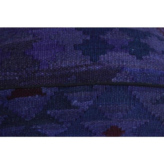 Arshs Demetra Purple/Drk. Gray Kilim Upholstered Handmade Ottoman For Sale In New York - Image 6 of 8