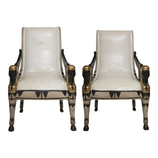 Early 20th Century Pair of Painted and Parcel Gilt Bugatti Armchairs