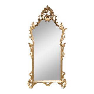 Antique French Louis XVI Rococo Ornate Gold Wall Mirror Made in Italy