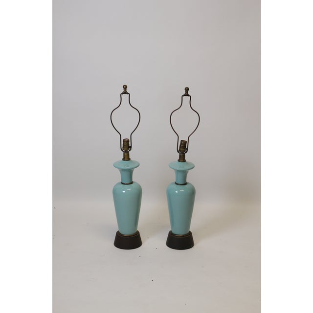 Ceramic Pair of Robins Egg Blue Lamps For Sale - Image 7 of 7