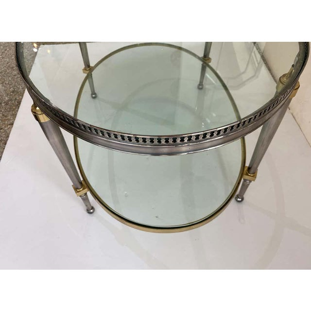 Trouvailles Steel and Brass Oval Cocktail Table For Sale In West Palm - Image 6 of 13