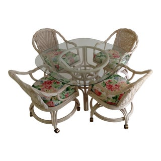 Vintage Wicker Dining Set ,Beveled Glass Table Top & 4 Cushioned Swivel Chairs