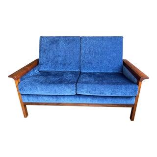 1960s Midcentury Hans Olsen X Vatne Møbler Velvet & Rosewood Loveseat Sofa For Sale