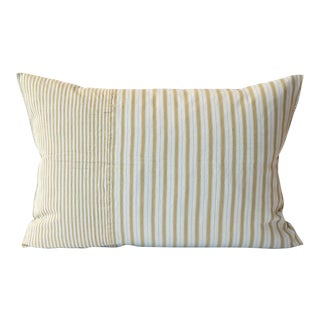 French Ticking Khaki & Gray Stripe Pillow Cover For Sale