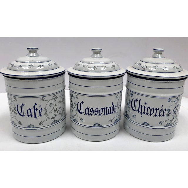 1940s Vintage French Country Enamel Canister Set - Set of 6 For Sale - Image 5 of 13