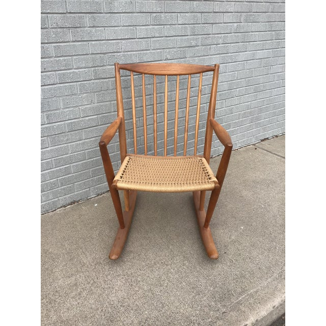Danish Modern Danish Modern Corded Seat Teak Rocking Chair For Sale - Image 3 of 8