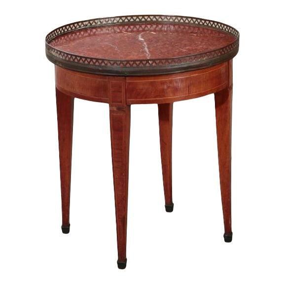 Antique Louis XVI Style Inlaid Walnut & Rouge Marble Petit Bouillotte Table For Sale