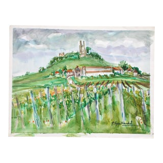 Vintage Watercolor of French Chateau & Vineyard For Sale