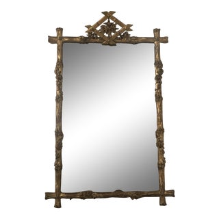 19th Century Gilded Faux Bois Mirror For Sale