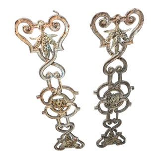 "Antique French ""M"" Initial Iron Pieces - a Pair For Sale"