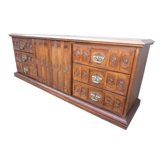 Vintage 1968 Spanish Style Ornate Triple Dresser With Interchangeable Velvet Panels For Sale