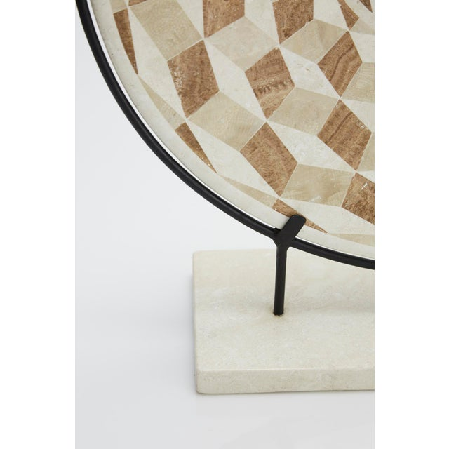 """1990s Modern Tessellated Woodstone """"Illusion"""" Plate on Iron Stand For Sale - Image 10 of 12"""