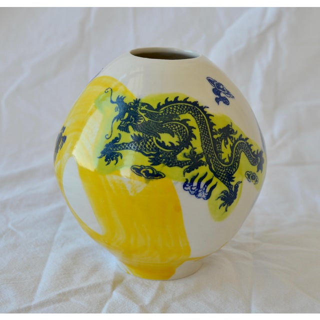 2010s Contemporary Ceramic Small Green Dragon Moon Vase For Sale - Image 5 of 5