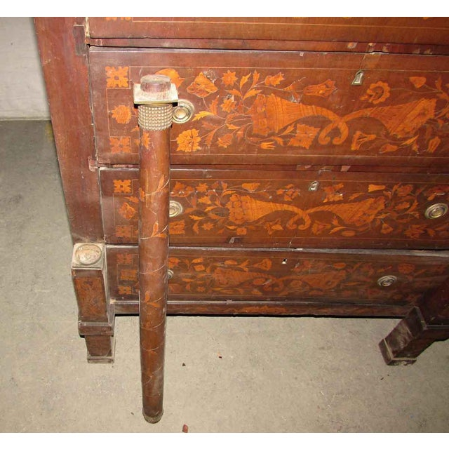 Gold Tall Inlaid Dresser With Bronze Reliefs For Sale - Image 8 of 10