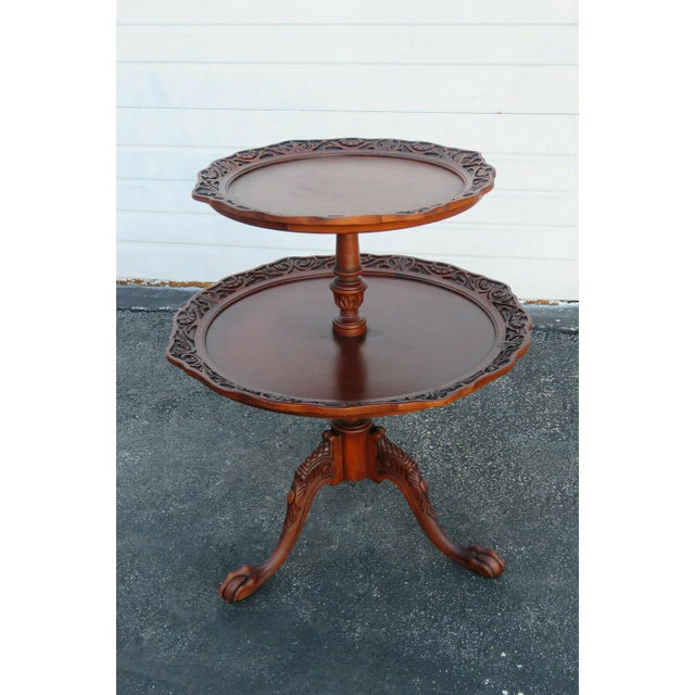 Mahogany Two Tier Hand Carved Pie Crust Round Side Table For Sale - Image 10 of 11