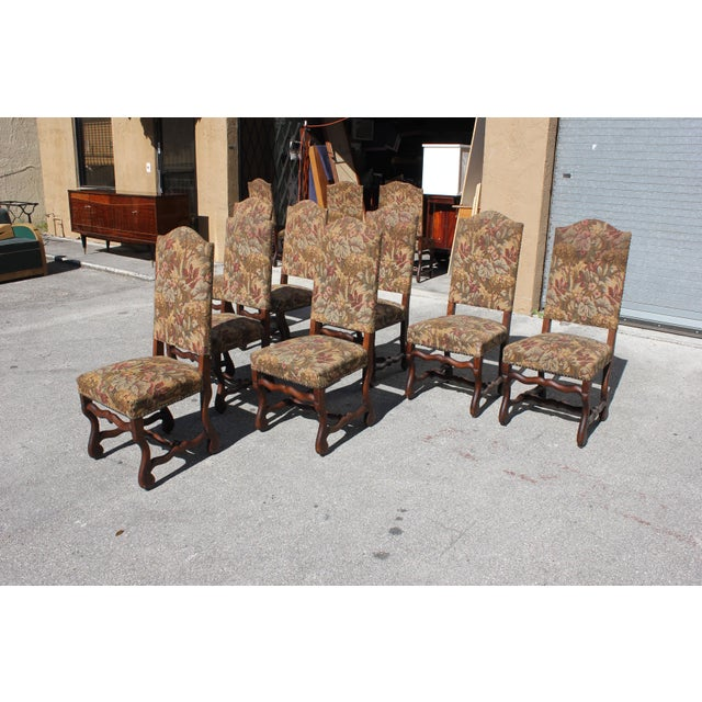 1900s Vintage French Louis XIII Style Os De Mouton Dining Chairs- Set of 8 For Sale - Image 4 of 13