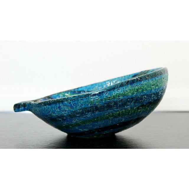1970s Mid Century Modern Blue Green Ceramic Art Bowl Bitossi Made in Italy 1970s For Sale - Image 5 of 9