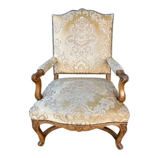 Single 18th C. French Regence Walnut Carved Arm Chair For Sale
