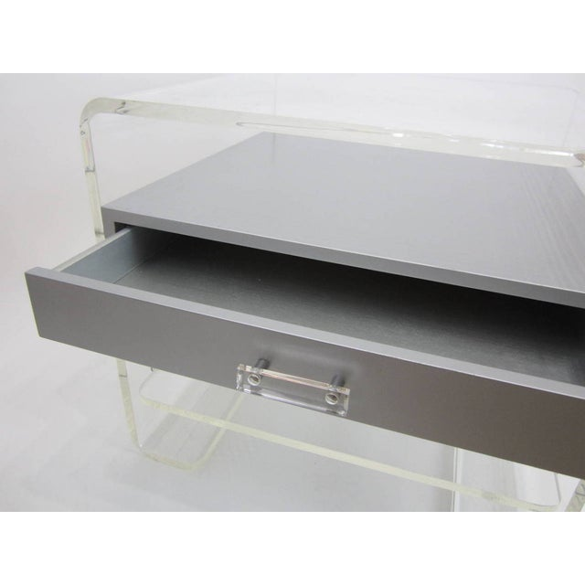 Lucite Side Table with Silver Metallic Drawer - Image 6 of 6