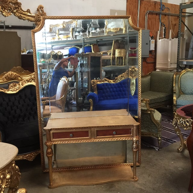 """Gorgeous oversized floor mirror and consul with neoclassical drawers details. Floor to console height 27"""""""