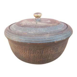 Vintage Japanese Wooden Basket Box For Sale