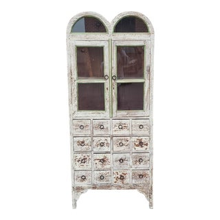 Imported Distressed Painted Primitive Multi Drawer Display China Cabinet Cupboard C1990s For Sale