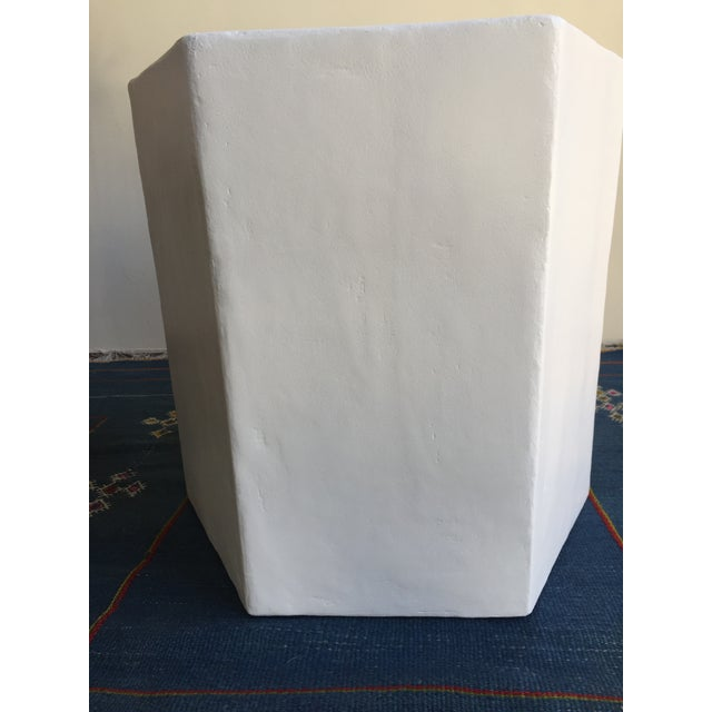 White Plaster Hexagon Side Table For Sale - Image 8 of 9