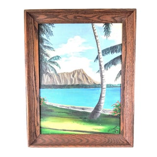 Vintage Mid-Century Tropical Seascape Bayside Island Painting For Sale