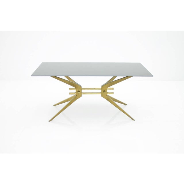 Mid-Century Modern Italian Coffee Table in Brass and Glass, 1950s For Sale - Image 3 of 8