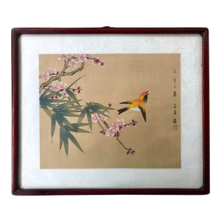 Framed Antique Chinese Bird and Floral Gouache Watercolor Painting on Silk For Sale