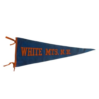 Vintage 1930s White Mts Nh Felt Flag Pennant For Sale