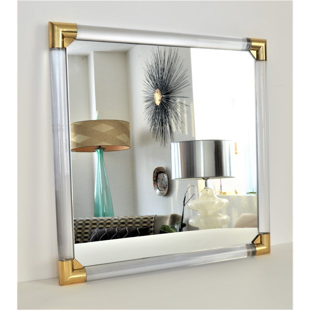 Mid-Century Modern Lucite & Brass Wall Mirror Charles Hollis Jones Style - Image 2 of 11