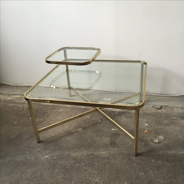 Baughman Style Brass & Glass Swivel Coffee Table - Image 4 of 9
