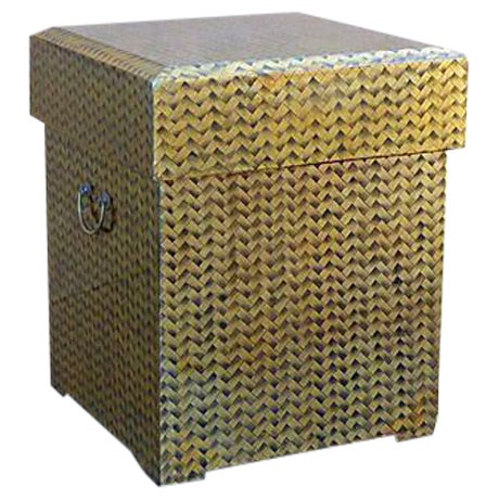 Gold Lacquered Covered Trunk For Sale