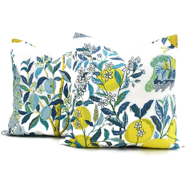 "20"" x 20"" Citrus Garden With Lemon Tree Decorative Pillow Cover Pool For Sale In Boston - Image 6 of 6"