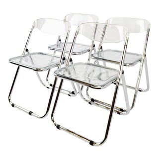 Mid Century Modern Italian Lucite Folding Chairs - Set of 4
