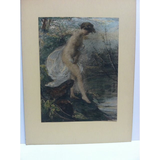 """This is an Mounted Color Print that is titled """"Entering the Water"""" - The Artist is Unknown. The Print is in Good condition..."""