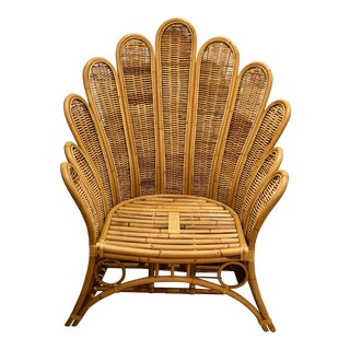 Vintage Rattan and Wicker Palm Beach Palm Frond Peacock Club Chair For Sale