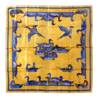 1981 Unused Hermès La Mare Aux Canards Scarf For Sale
