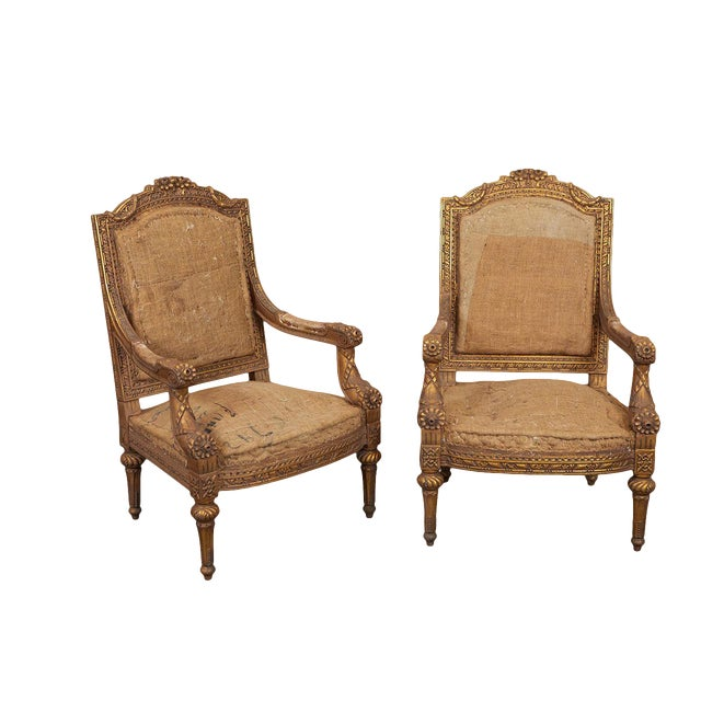 Pair Louis XVI Style Armchairs For Sale