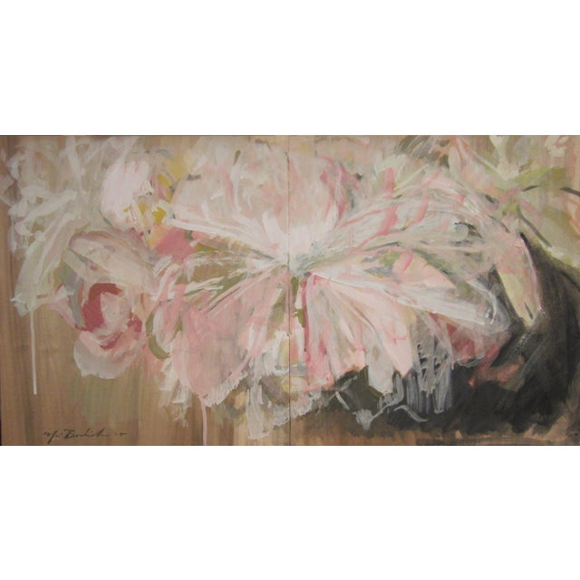 'Peonies' Contemporary Painting For Sale
