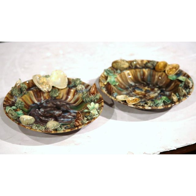 Brown Early 20th Century Barbotine Wall Hanging Plates With Seashells - A Pair For Sale - Image 8 of 10