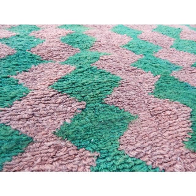 Green Modern Turkish Angora Tulu Rug For Sale - Image 8 of 12