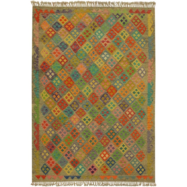 Abstract Margheri Brown/Rust Hand-Woven Kilim Wool Rug -6'3 X 7'11 For Sale