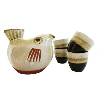 Mid-Modern Sake Bird Pitcher & Cups - Set of 5