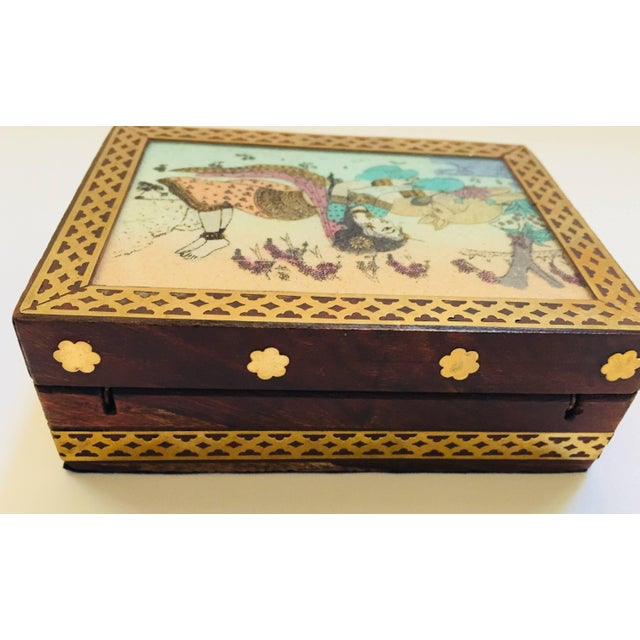 Anglo-Raj Wood and Brass Box With Hand-Painted Scene For Sale In Los Angeles - Image 6 of 10