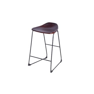 Silana Leather Bar Stool for Indoor & Outdoor, Counter Bar Chair Vintage Style, Iron Leg, Brown Color For Sale