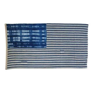 "Chic Bohemian Indigo Blue & White African Textile Flag Throw 57"" X 40"" For Sale"